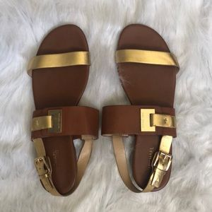 Michael Kors gold and tan sandals